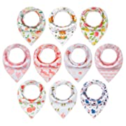 10-Pack Baby Bandana Drool Bibs for Girls Drooling Teething Gift Set by MiiYoung