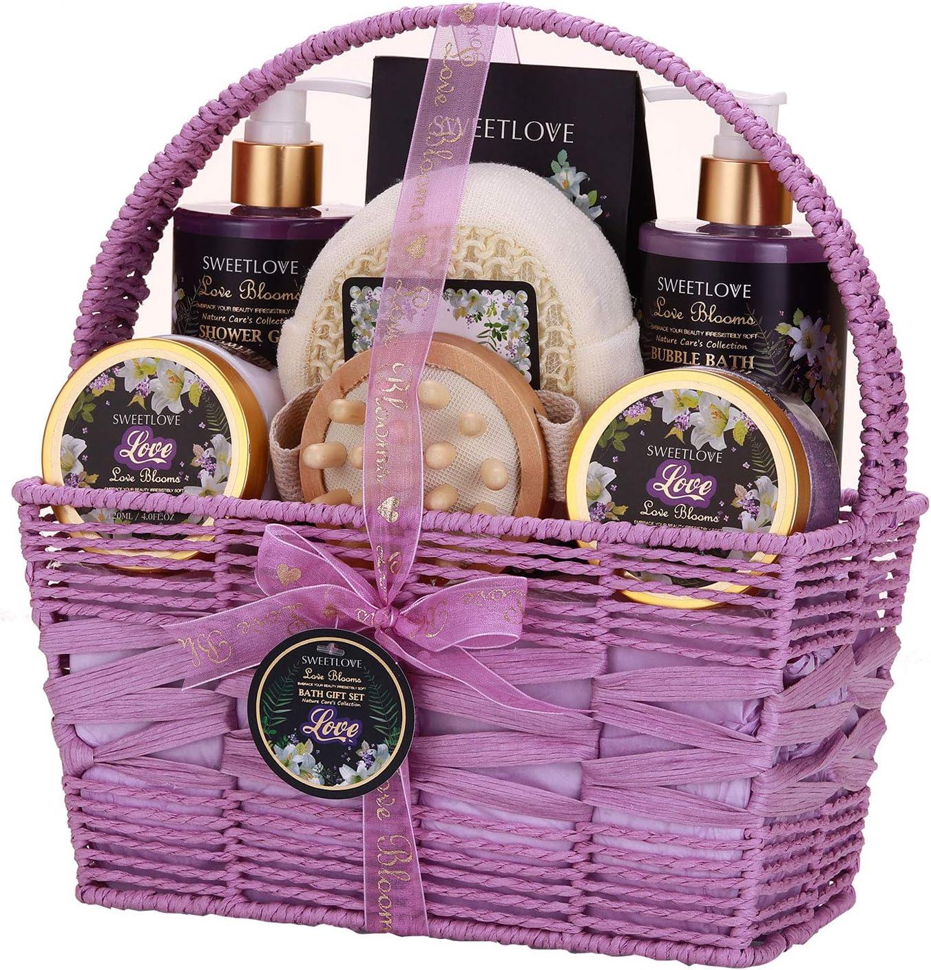 Cesta de regalo de spa para mujeres, set de regalo de baño y cuerpo para ella, 8 piezas de lujo, aroma de lirio y lila, el mejor regalo para el día de la madre, cumpleaños, Navidad