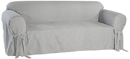 Swell Classic Slipcovers Bt20Rastbl Stripe Twill Loveseat Slipcover Navy White Creativecarmelina Interior Chair Design Creativecarmelinacom