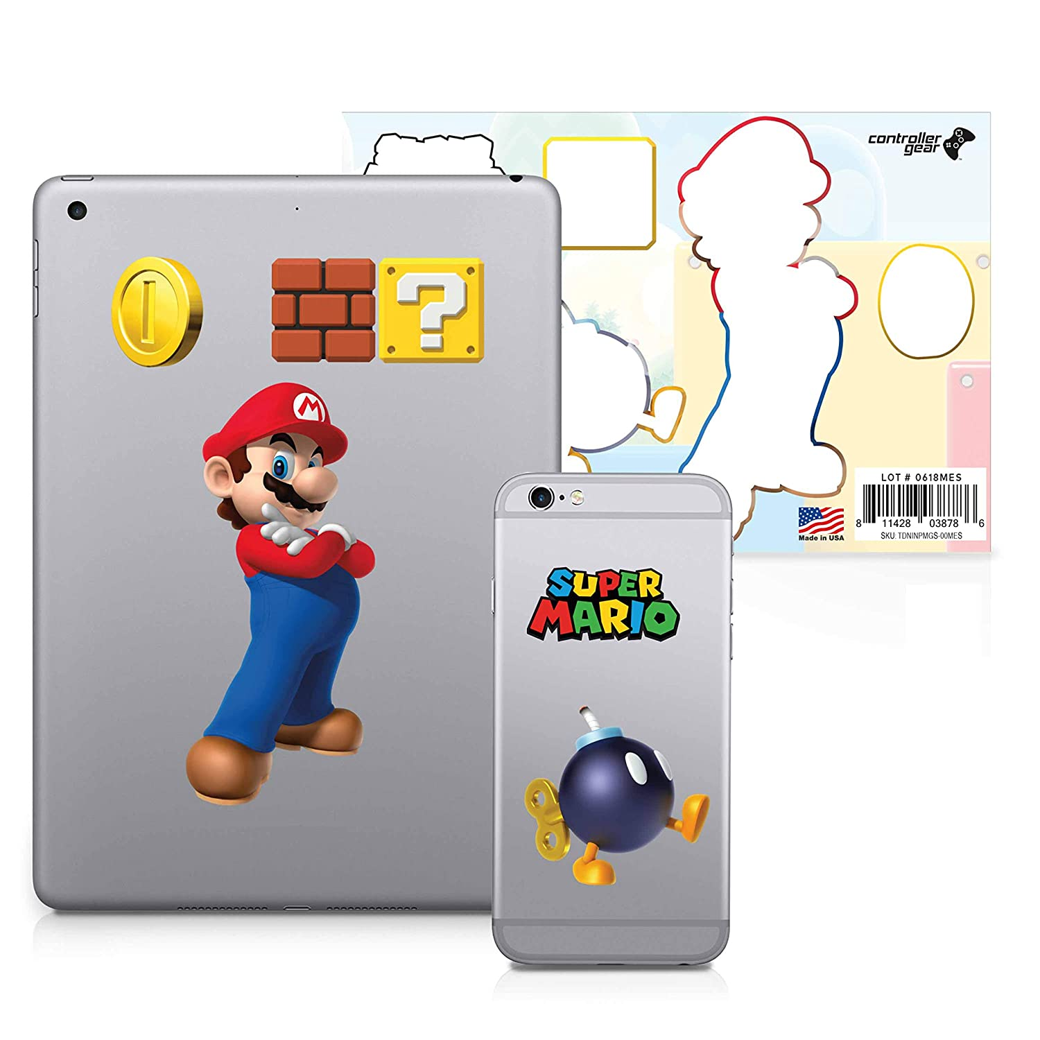 Super Mario, 6 Pack, Mario Tech Decals, Waterproof Stickers for Phone, Laptop, Water Bottle, Skateboard, Vinyl Stickers for Boys and Girls