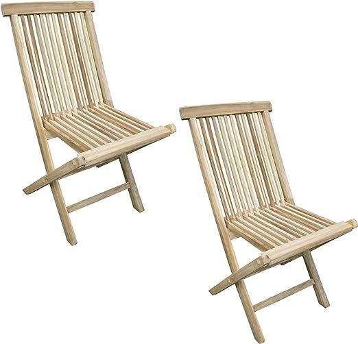 CHICREAT - Juego de dos sillas plegables de jardín de madera de teca: Amazon.es: Jardín