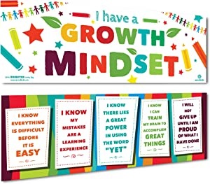 Sproutbrite Growth Mindset Classroom Banner Decorations - Poster for Teachers - Wall Decor and Bulletin Board for Pre School, Elementary and Middle School