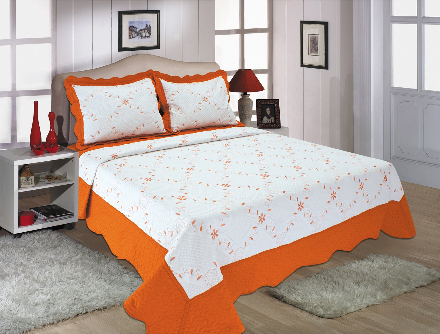 Quilt Set-orange and white (orange, full/queen)