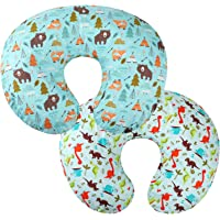 Nursing Pillow Cover Set 2 Pack 100% Cotton Slipcovers for Breastfeeding Moms Baby Girl Boy Fits On Infant Nursing Pillow Dinosaur and Bear by Knlpruhk