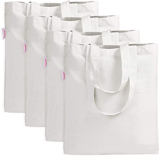 Beige Tote bag Plain Shopping Shoulder Tote Shopper Bags Cotton Cloth Bag C#/&