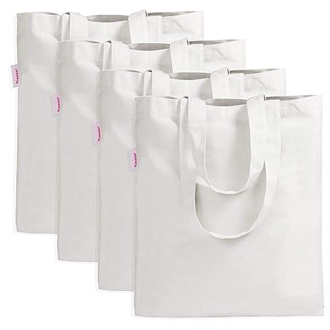 34619fb04b09 Amazon.com: Shopping Bag by Dimayar 4Packs Canvas Tote Bag for ...