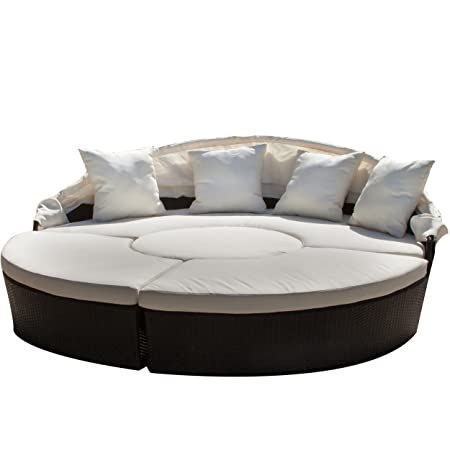 Great Deal Furniture 238170 Bellagio 4-Piece Outdoor Daybed Sectional Set, Beige