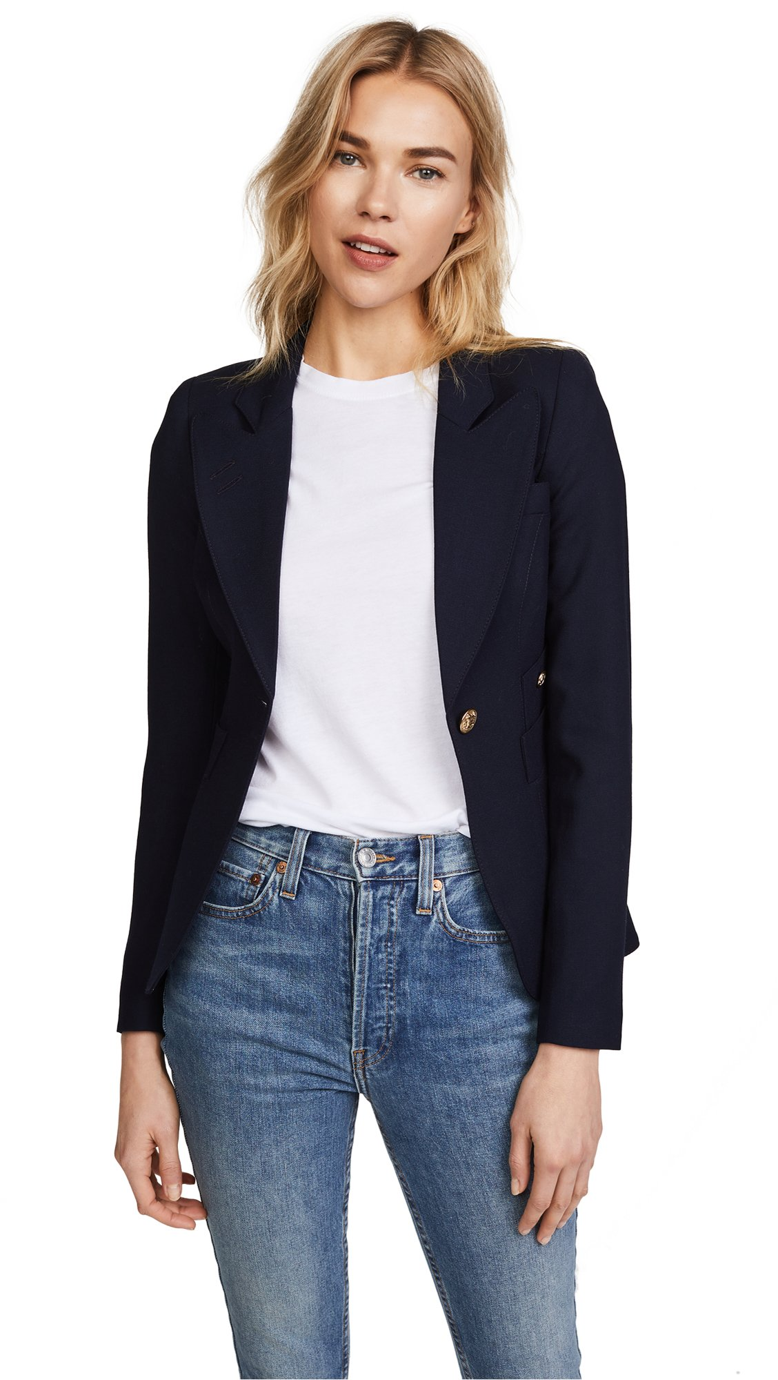 SMYTHE Women's One Button Blazer, Navy, 12
