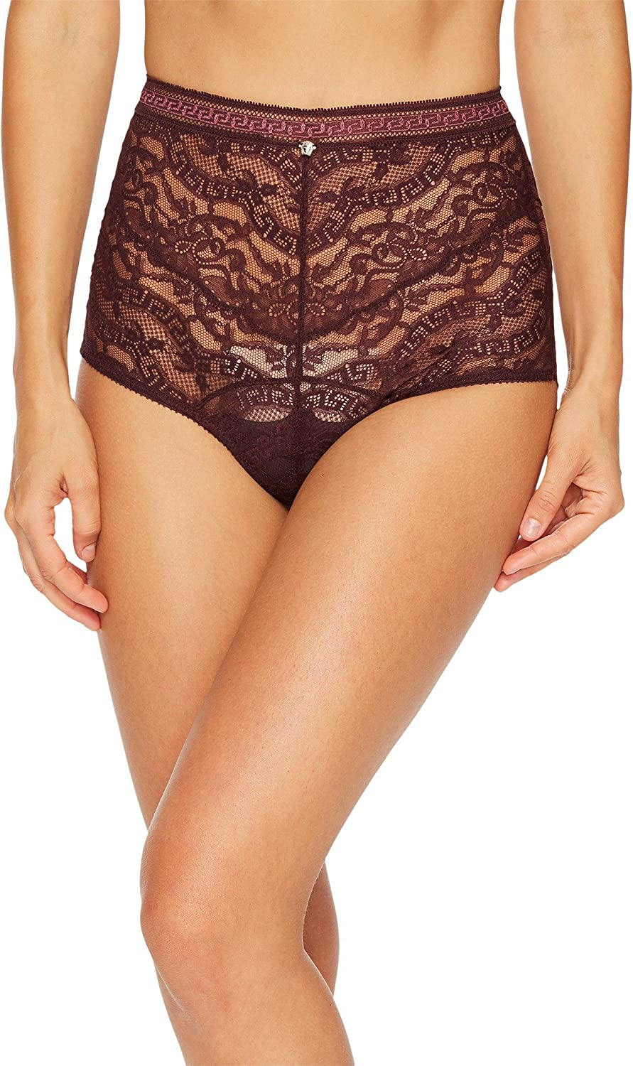 Versace Womens High Waisted Lace Greek Panty