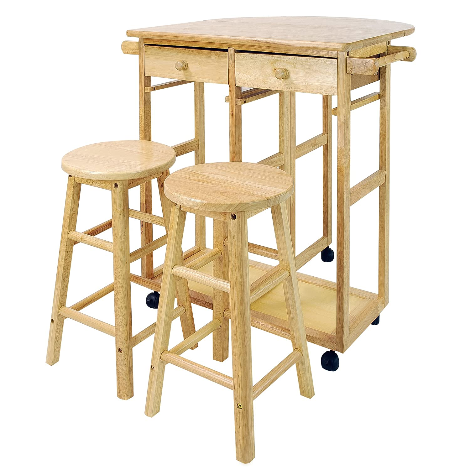 Casual Home 355-20 Drop Leaf Breakfast Cart with 2 Stools-Natural