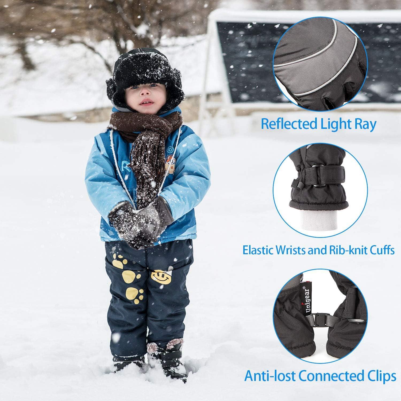 Unigear Kids Ski Gloves Fit Both Boys /& Girls Waterproof Winter Cold Weather Snowboard Snow Gloves
