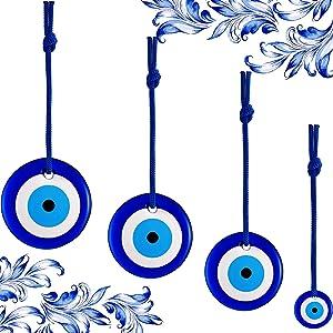 WILLBOND 4 Pieces Blue Evil Eye Hanging Turkish Eye Bead Turkish Nazar Beads Turkish Blue Evil Eye Wall Ornament Home Protection Charm Turkish Wall Decor Amulet Hamsa Wall Decor House Decoration