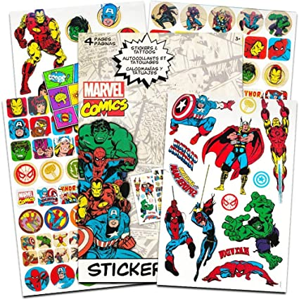 Marvel Comics Avengers Fun Set Bundle -- 110 Marvel Heroes Stickers and 26 Temporary Tattoos with Separately Licensed Specialty Popart Sticker (Marvel ...