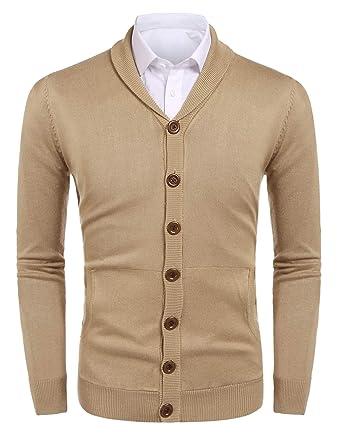 e5ffbda7b Hotouch Mens Knit Pocket Cardigan Shawl Collar Elbow Patch Long ...