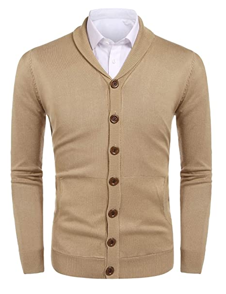 Amazon.com: hotouch Mens Knit bolsillo chaqueta de punto ...
