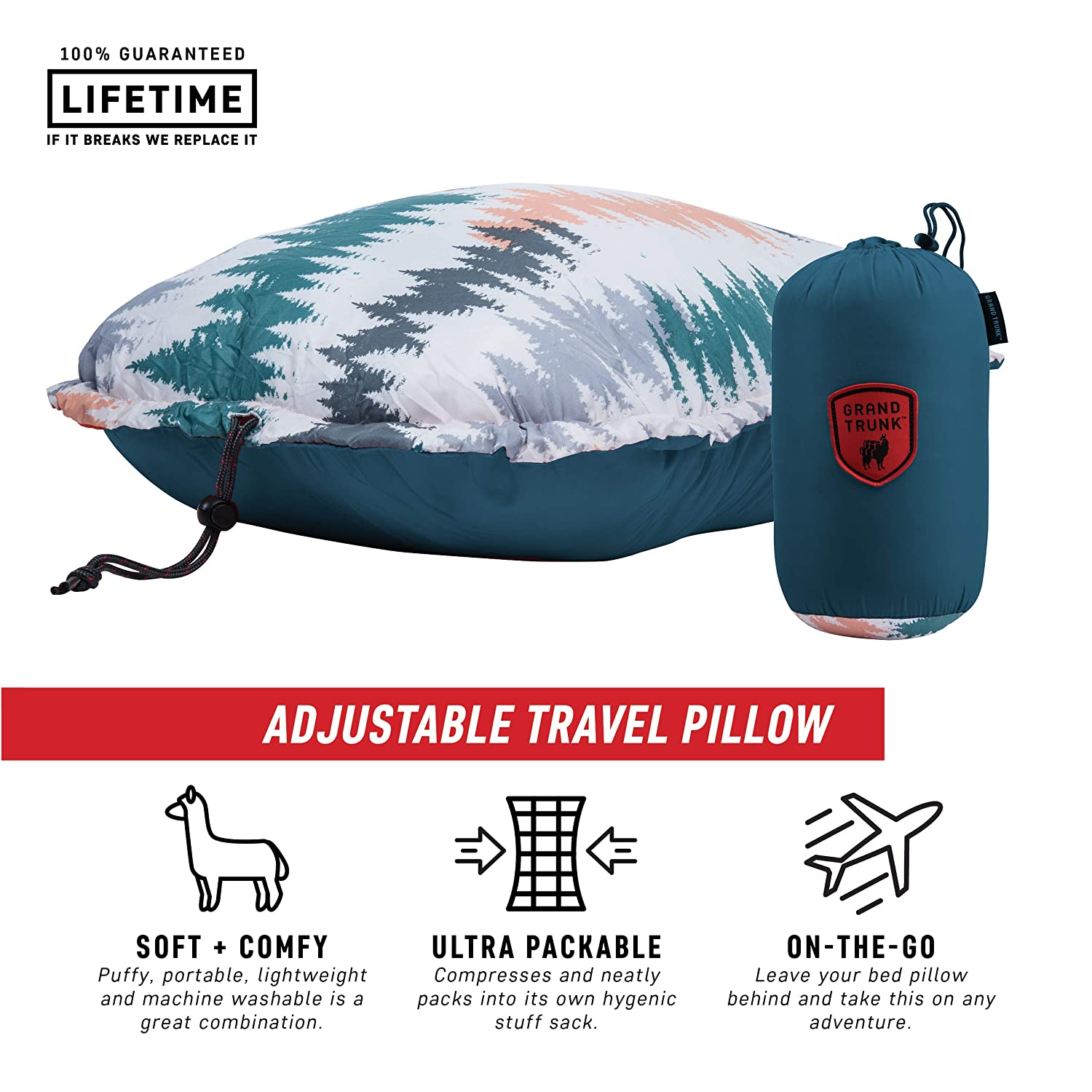 Comfortable Lightweight Adjustable and Packable for Outdoor Adventures Grand Trunk Adjustable Travel Pillow Slate