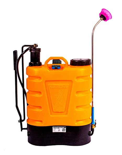 NEPTUNE SIMPLIFY FARMING Knapsack Hand Operated Garden Sprayer with Plastic Pressure Chamber, Capacity 16 L, Yellow