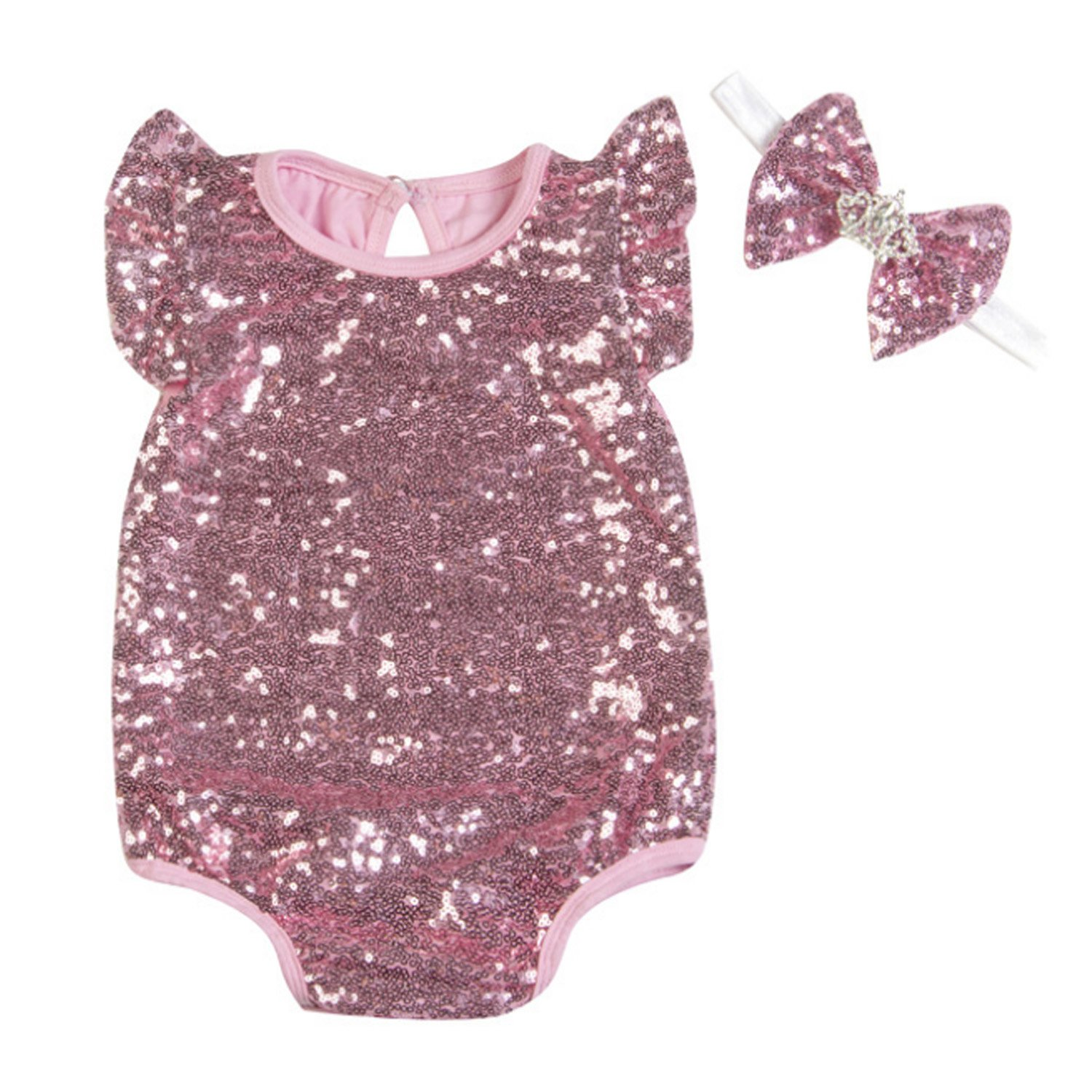 d7bc4576b60 Amazon.com  Coodebear Baby Girls  Romper Climb Clothes Onesies Sequined  Jumpsuit Dress Suit  Clothing