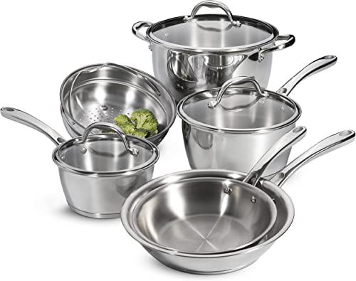Tramontina Tri-Ply Base Stainless-Steel Cookware Set, Induction-Ready, 9-Piece