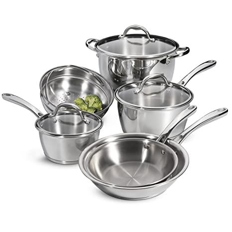 Amazon.com: Tramontina Tri-Ply 9-Piece de acero inoxidable ...