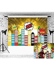 Daniu Photo Props Contexte Super Hero City Dessin de dessin animé Beignets de bébé pour studio 7x5FT 210cm X 150cm Daniu-sc016