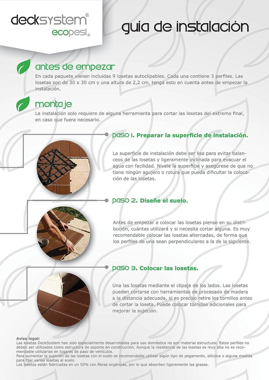 Baldosa maciza autoclipable de madera tecnológica (WPC): Amazon.es: Bricolaje y herramientas