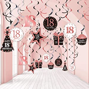 Blulu 18th Birthday Party Decorations, 18th Birthday Party Rose Gold Hanging Swirls Ceiling Decorations Shiny Foil Swirls for 18th Birthday Decorations 18 Years Old Party Supplies 30 Count
