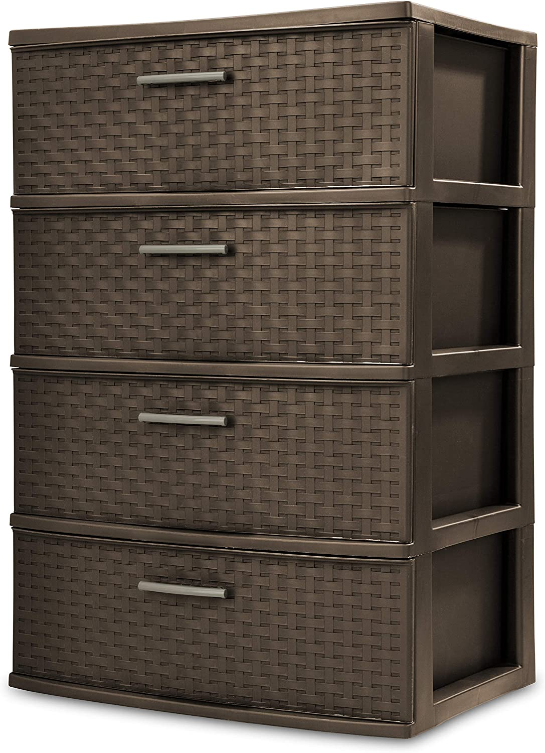 STERILITE 4-Drawer Wide Weave Tower, Espresso Frame & Drawers w/Driftwood Handles, 1-Pack