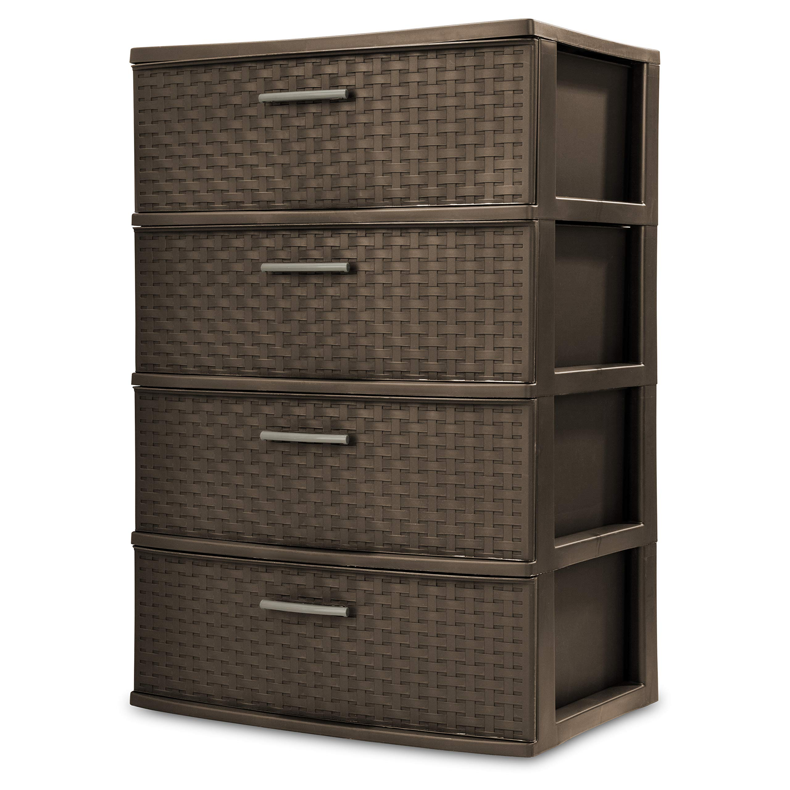 STERILITE 4-Drawer Wide Weave Tower, Espresso Frame & Drawers w/Driftwood Handles, 1-Pack by STERILITE