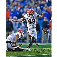 "$49 » Rodrigo Blankenship Georgia Bulldogs Autographed 16"" x 20"" White Jersey Field Goal Kick Photograph - Autographed College Photos"