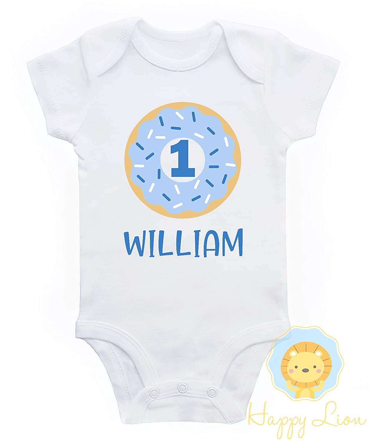 Happy Lion Clothing - Donut First Birthday Onesie® for boys, 1st Birthday outfit for boys