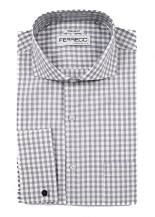 Regular Fit White With Black Check French Cuff Cotton Dress Shirt Shirts