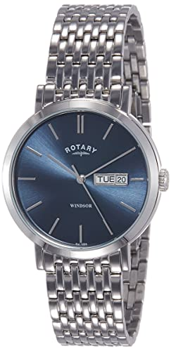 7da194926673 Rotary GB05300-05 Mens Timepieces Windsor Silver Tone Steel Watch   Amazon.co.uk  Watches