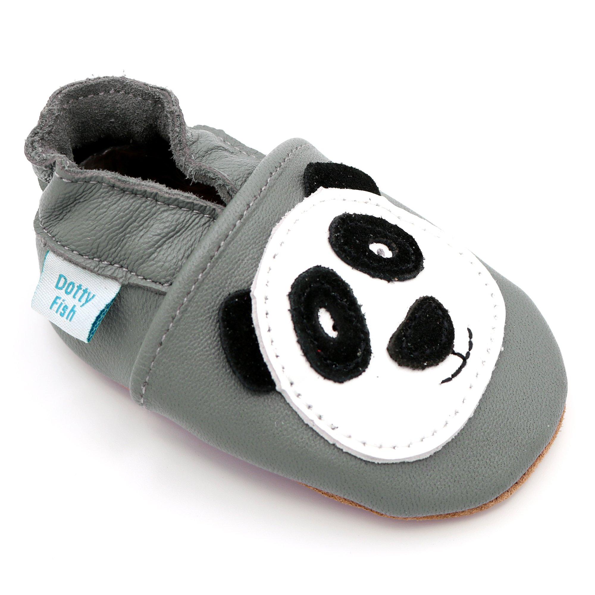 091ba4c2ccc86 Dotty Fish Chaussures Cuir Souple bébé. Chaussures de Poussette.  Conceptions Animale avec Panda