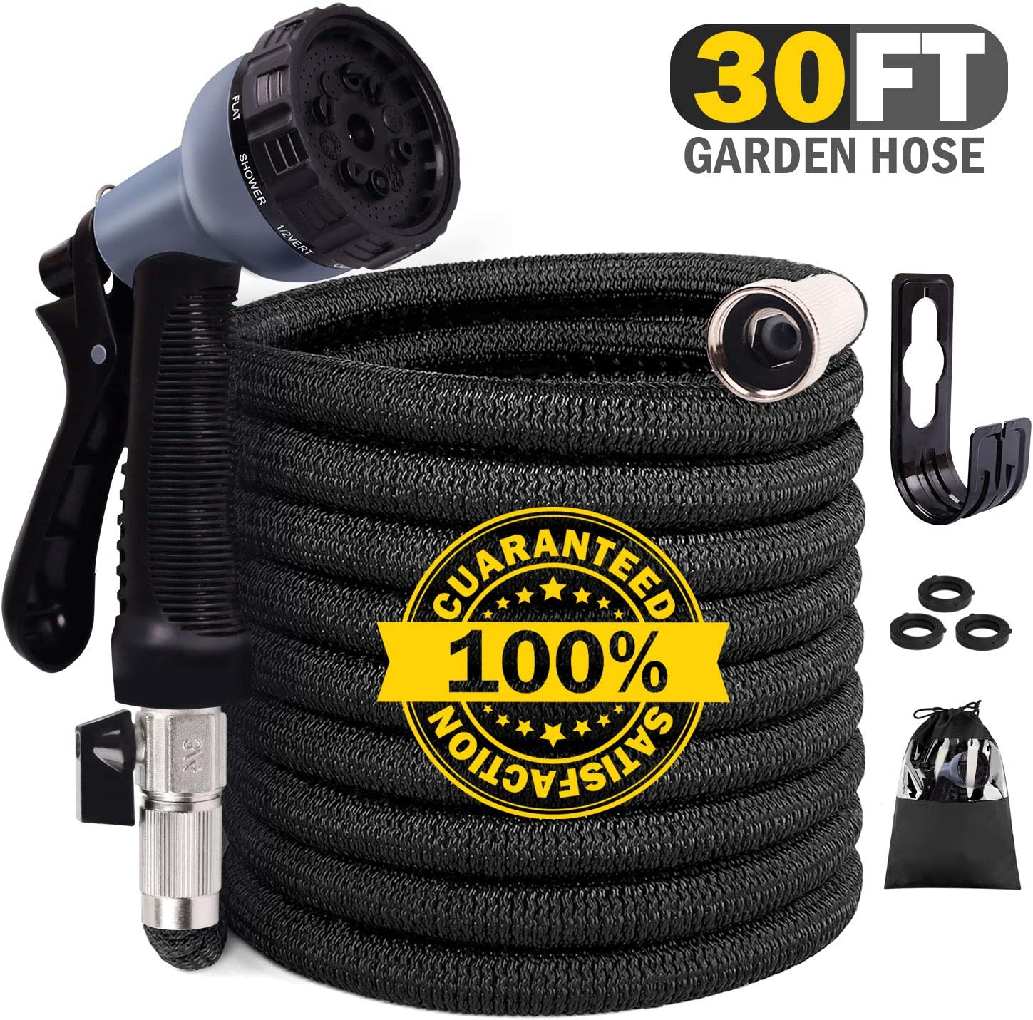 Expandable Garden Hose, 30ft Flexible Hose with Multilayer Latex Core, Water Hose with 10 Functions Nozzle,3/4