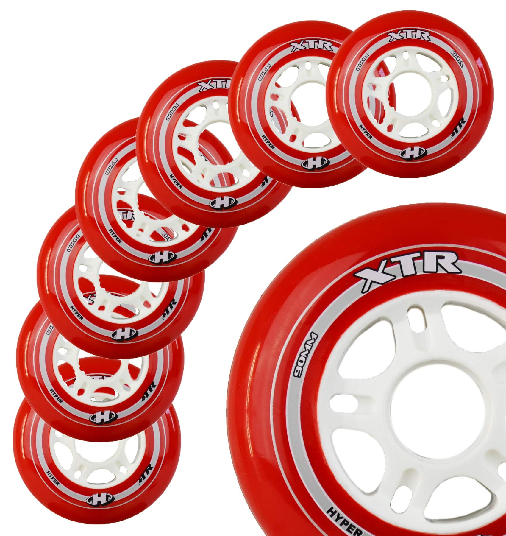 Inline Skate Wheels Hyper XTR - 8 Wheels - 84A - Sizes: 84MM - Speed Skating, Fitness and Recreational Wheels (RED, 84MM)