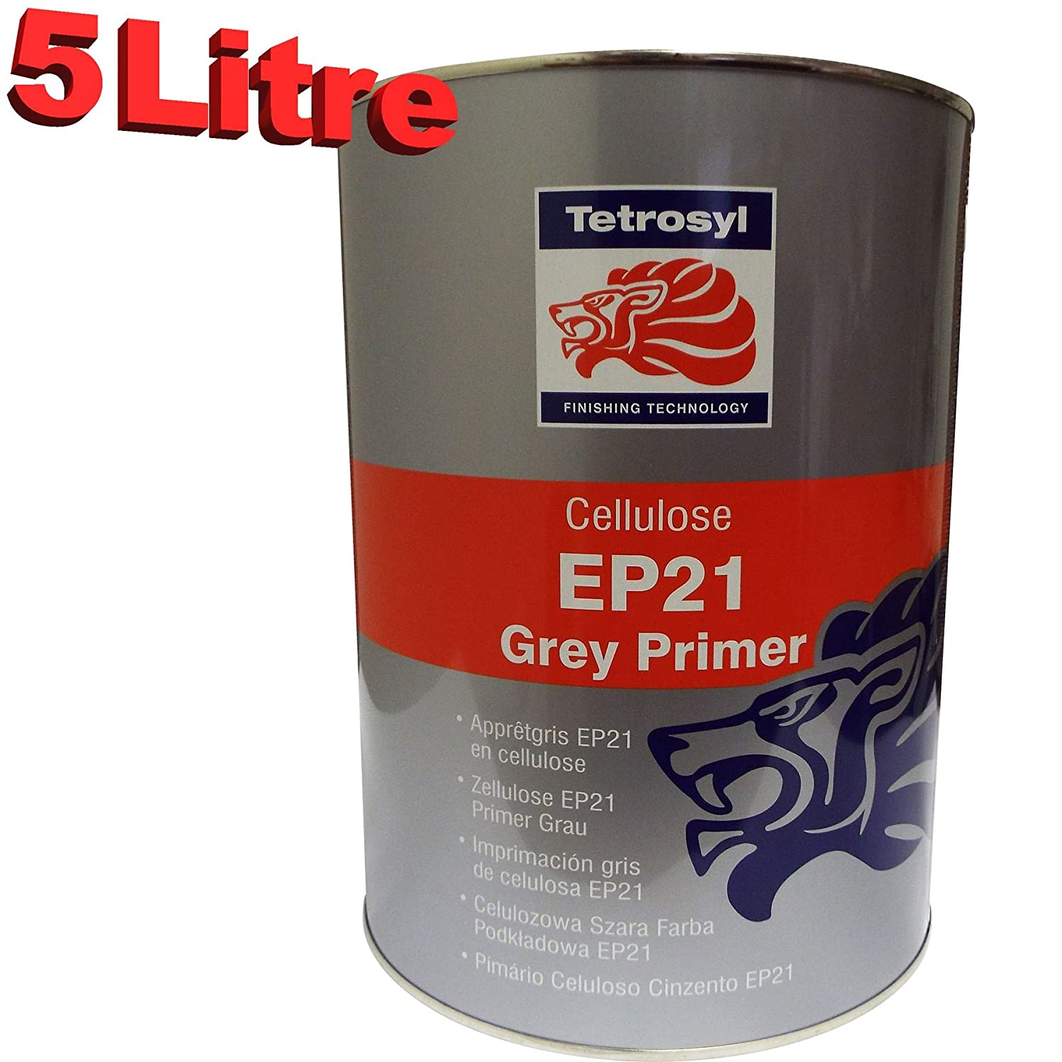 Tetrosyl EP21 5 Litre 1K Cellulose High Build Grey Primer 5L Car Industrial  Celly EP21 HVLP easy sand Paint Primer Excellent Adhesion to bar metal