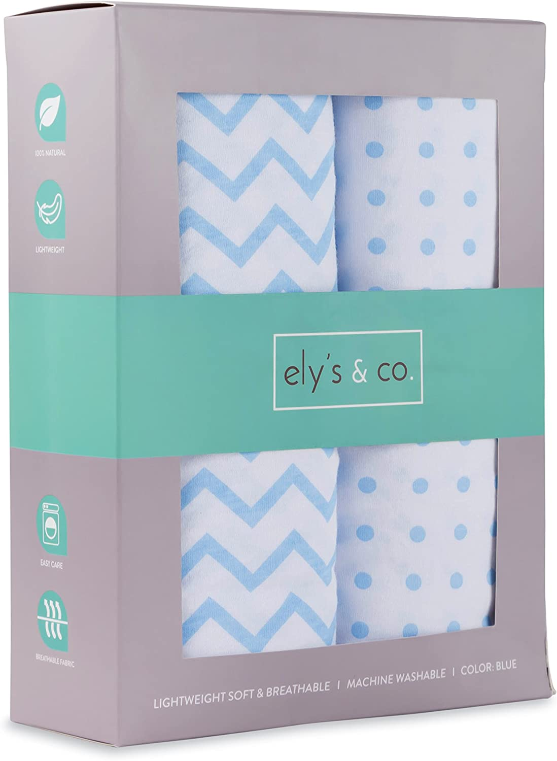 Ely's & Co. Fitted Crib Sheet Set | Toddler Sheet Set 2 Pack 100% Jersey Cotton for Baby Boy Blue Chevron and Polka Dots