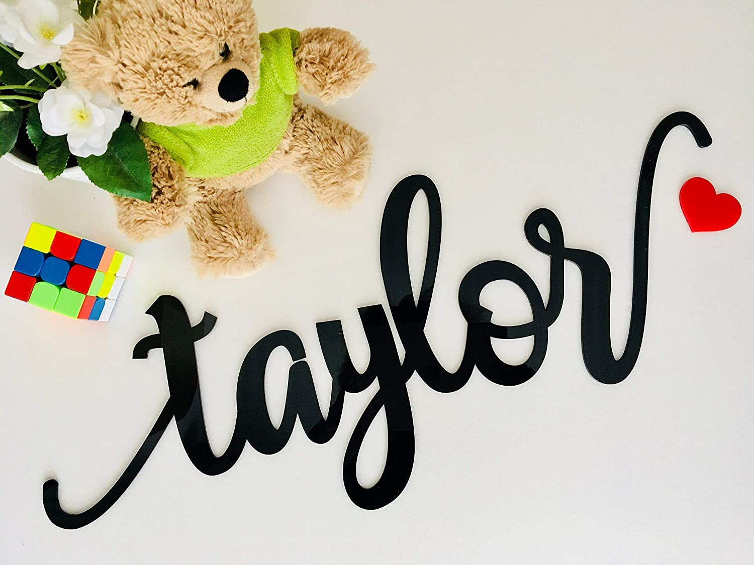 Personalized Laser Cut Large Name Sign Wall Hanging Sign Baby Name Script Letters Nursery Art Decor 1st Birthday Party Decorations Backdrop Photo Prop Acrylic Wood Metal Acrylic Plaque Children's Room