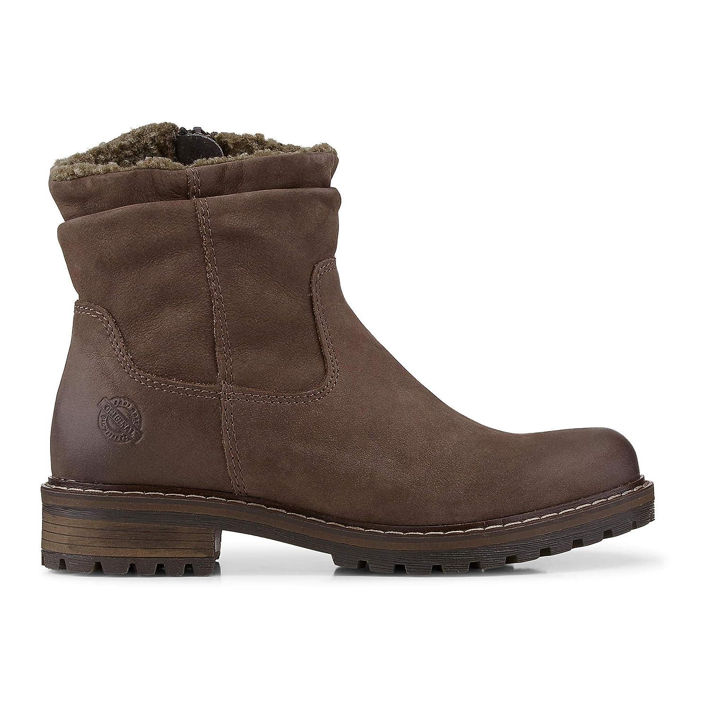 Cox Damen Winter Boots aus Leder, Stiefel in Dunkel Braun mit kuscheligem und wärmendem Innen Futter