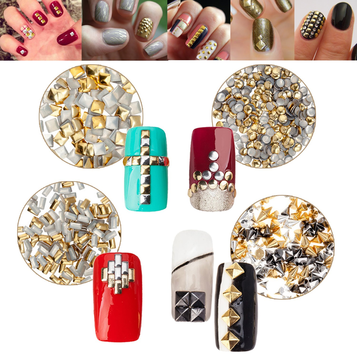Nail Art 3D Decorations Set of Metal Studs In 5 Different Sizes And Shapes: Square, Round, Spikes, Box And Pyramids By VAGA