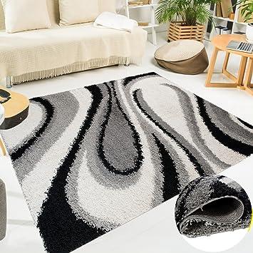 Wunderbar Tapiso Teppich Shaggy Wohnzimmer Modernes Design Schwarz Weiß Wellen U2013  Sammlung U2013 SCANDINAVIA 300 X 400