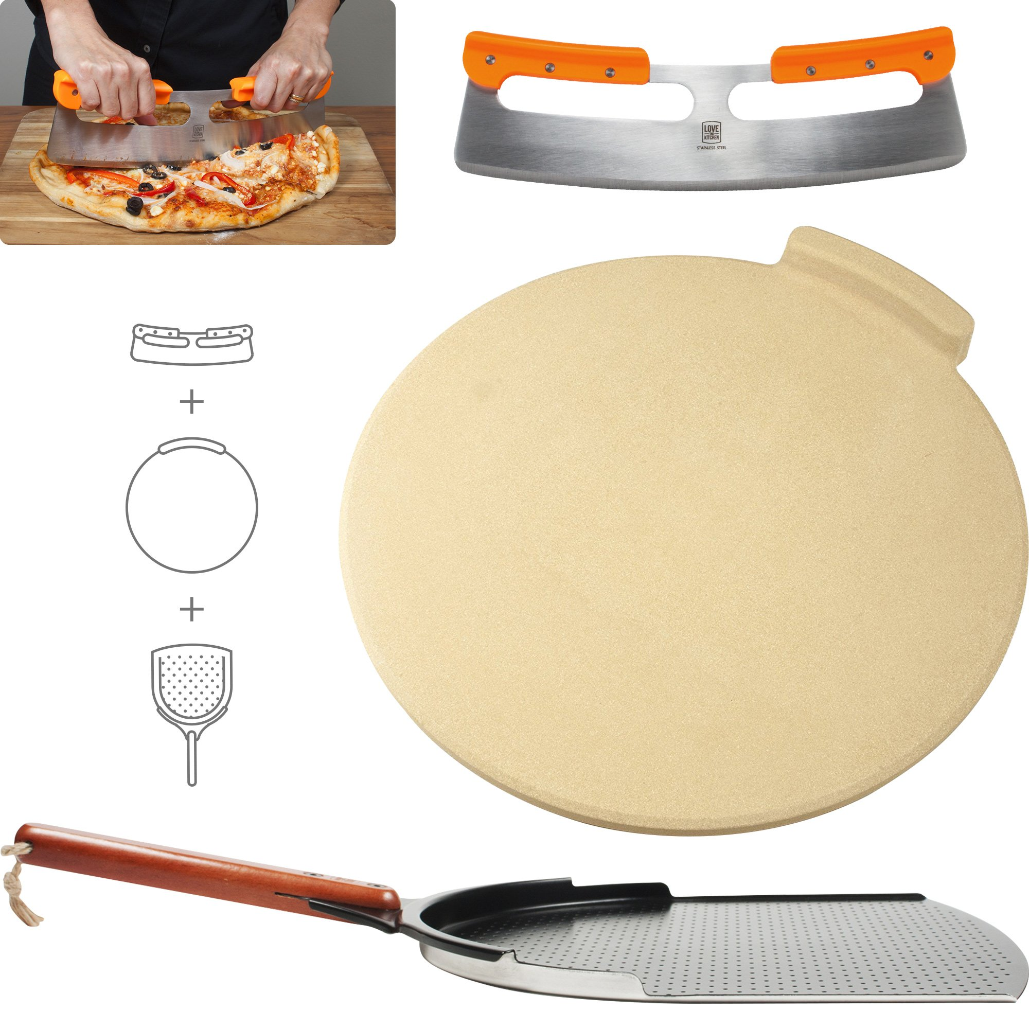 The Ultimate Pizza Making Tools - Classic 16'' Round Pizza Stone, 14'' Aluminum Pizza Peel and 14'' Stainless Steel Rocker Cutter | Great Bundle for Baking Pizza, Cookies, Bread in Oven or Grill by Love This Kitchen