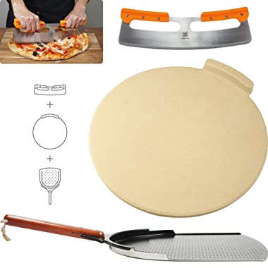 """The Ultimate Pizza Making Tools – Classic 16"""" Round Pizza Stone, 14"""" Aluminum Pizza Peel and 14"""" Stainless Steel Rocker Cutter 