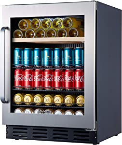 """Kalamera Mini Fridge 24"""" Beverage Refrigerator and Wine Cooler Built-in or Freestanding - 120 Cans & 16 Bottles Capacity - for Soda, Beer or Wine - For Kitchen, Office or Bar with White Interior Light"""