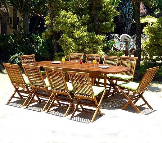Conjunto 10 Plazas Juego de Muebles de jardín en Teca barnizada Mesa 180 – 240 cm: Amazon.es: Jardín