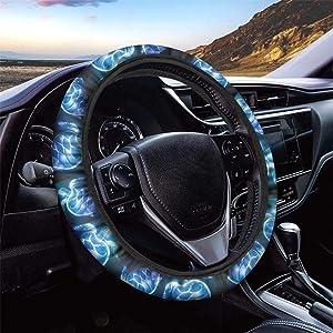 Dolyues Blue Sea Turtle Car Steering Wheel Cover for Men or Women, Auto Steering Wheel Covers All Season Universally, Stretch-on Install Comfortable Driving, Black Automotive Steering Wheel Decor