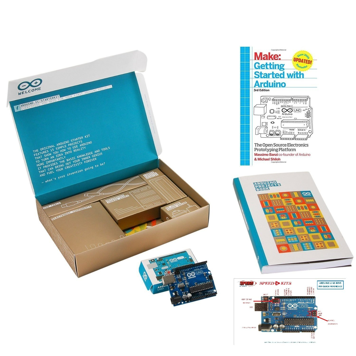 The Official Arduino Starter Kit Deluxe Bundle with Make: Getting Started with Arduino: The Open Source Electronics Prototyping Platform 3rd Edition Book ASC-MAB