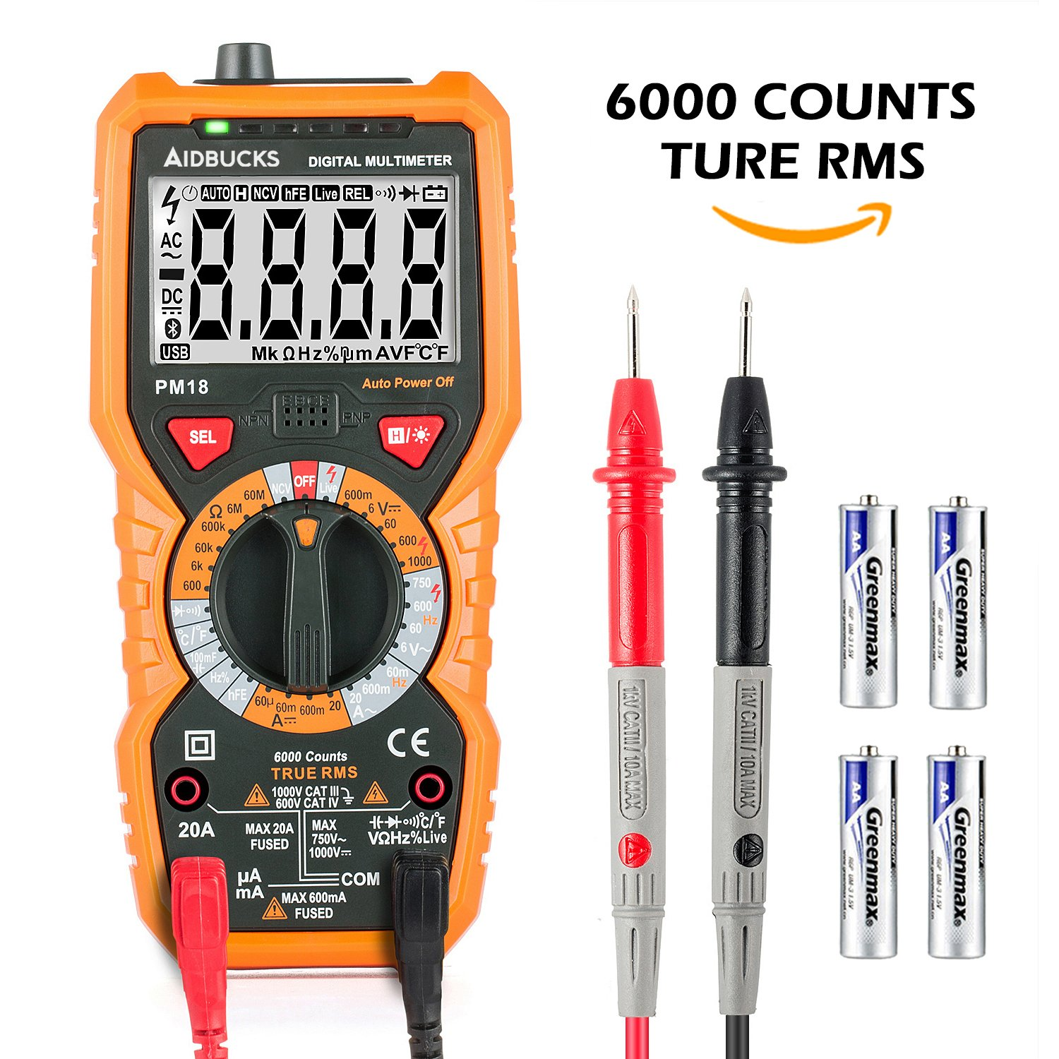 Multimeter Janisa PM18 Digital AC DC Voltage Current Resistance Tester Non-contact Voltage Test Multi Tester Voltmeter Ammeter Ohmmeter with Backlight LCD for DIY