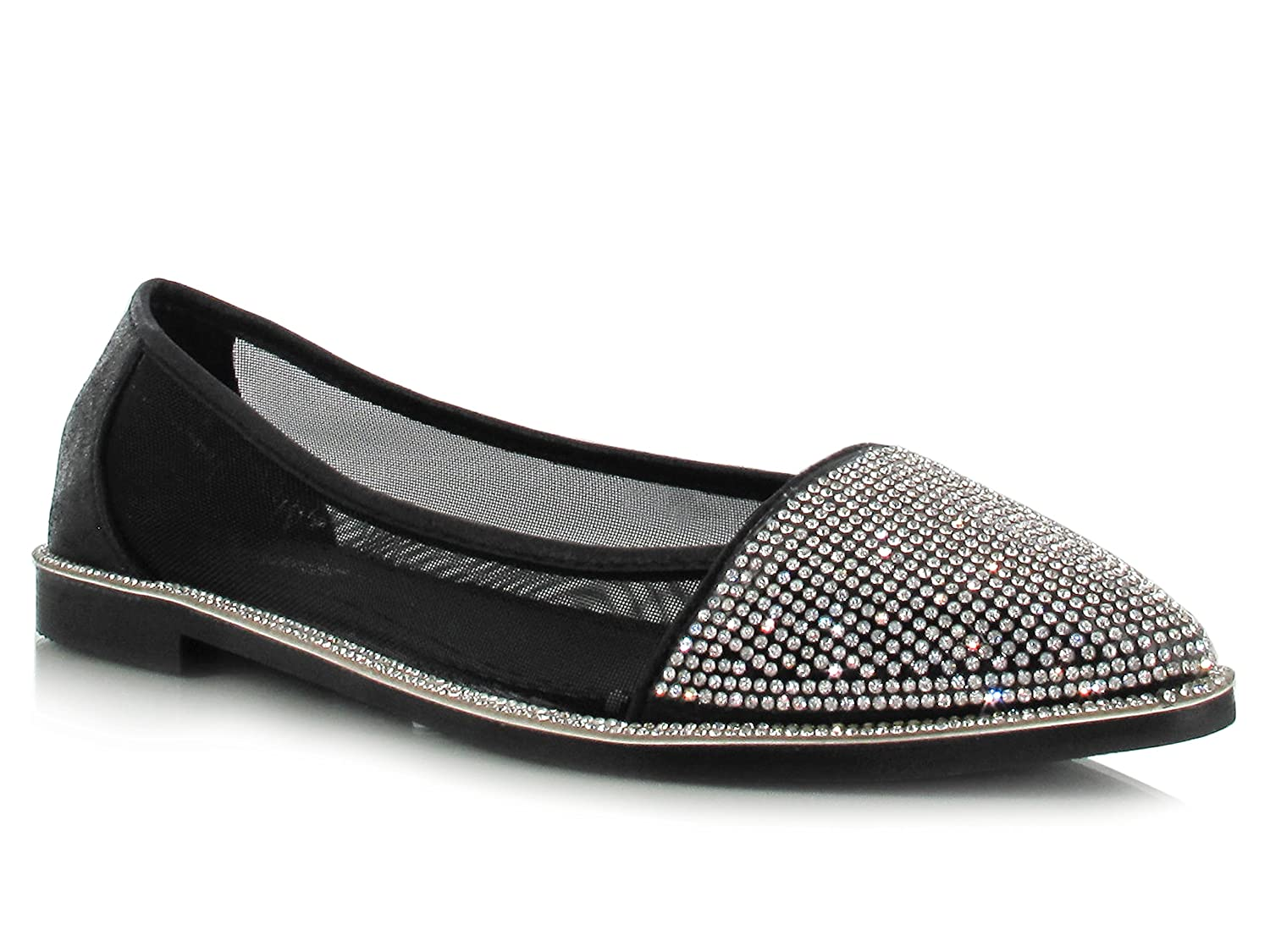 New Womens Diamante Flats Ladies Point Ballet Pumps Ballerinas Dolly Shoes 3-9